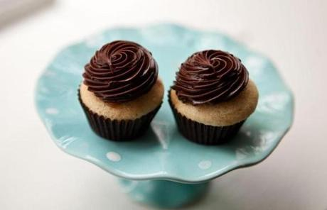A vanilla cupcake with chocolate ganache and a caramel filling was available at Eat Cake.